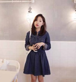 MINI DRESS DENIM SIMPLE TERBARU 2016