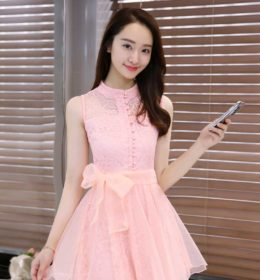 DRESS BROKAT IMPORT MODIS PINK 2017 FASHION