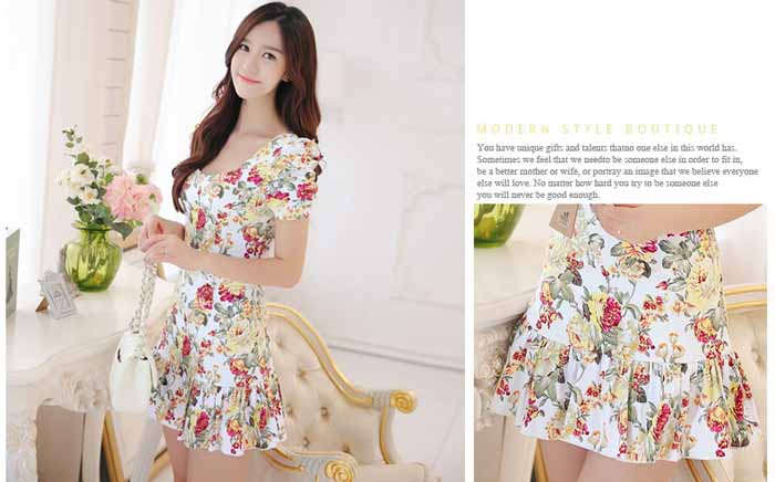 JUAL MINI DRESS MOTIF BUNGA CANTIK 2016