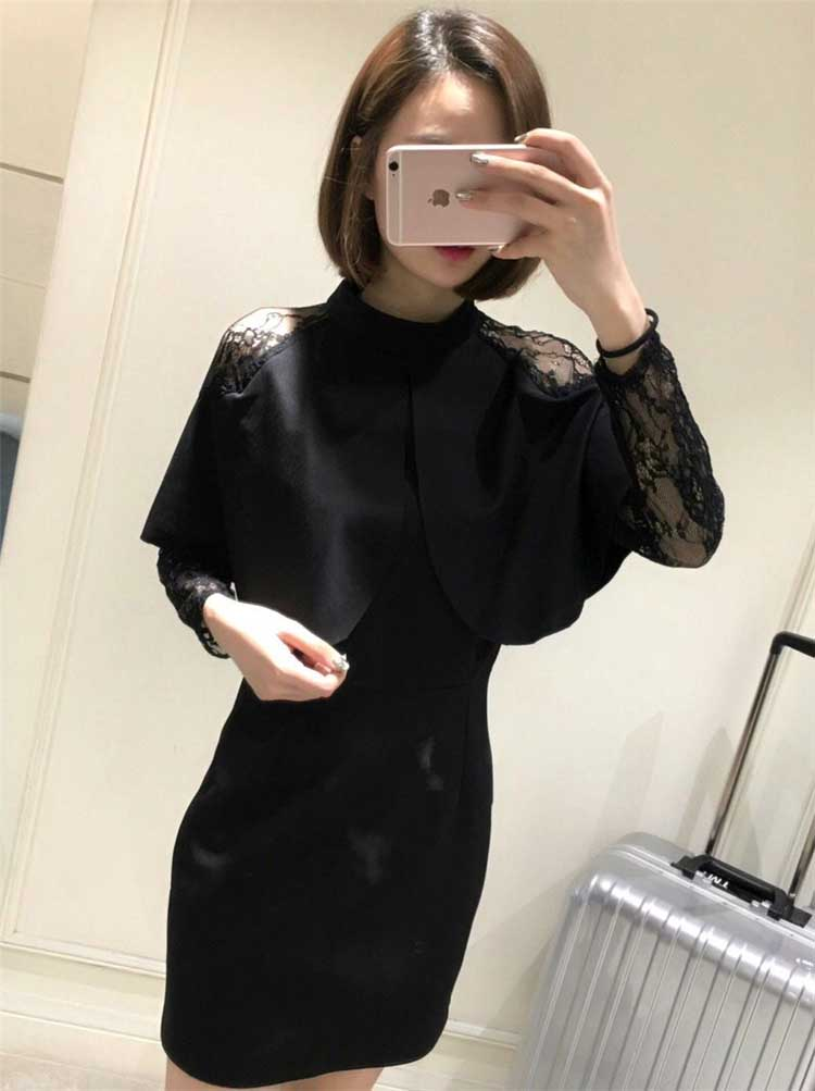 DRESS HITAM IMPORT LENGAN PANJANG CANTIK 2017