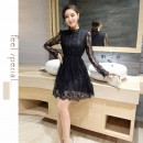 DRESS HITAM BROKAT LENGAN PANJANG 2016 KOREA