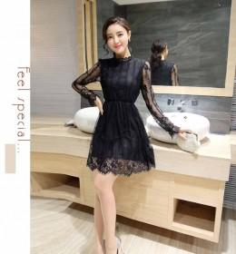 DRESS HITAM BROKAT LENGAN PANJANG 2016 KOREA