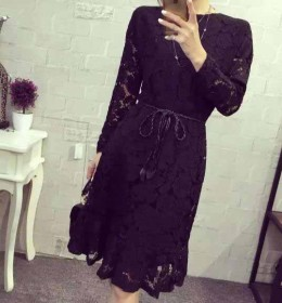 DRESS HITAM BROKAT MODIS 2016 FASHION