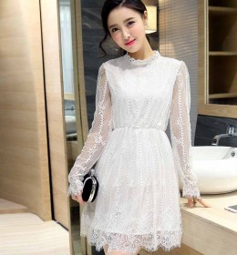 JUAL DRESS PUTIH KOREA BROKAT 2016