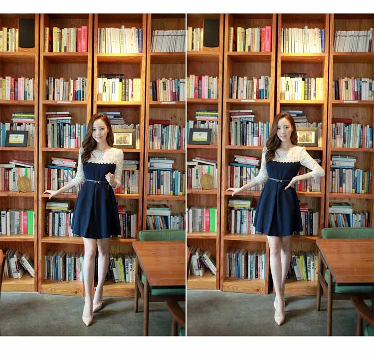MINI DRESS KOREA KOMBINASI BROKAT 2016 FASHION