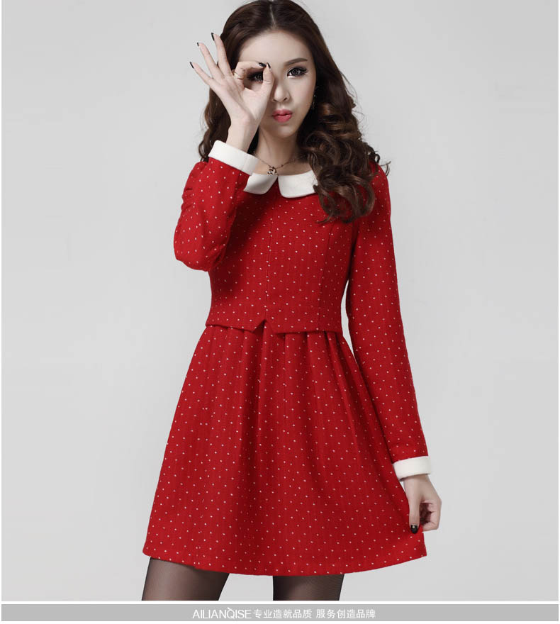 MINI DRESS MERAH IMPORT POLKADOT CANTIK