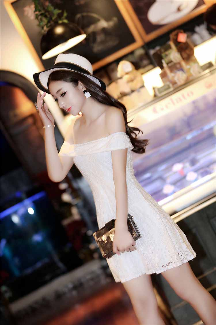 MINI DRESS PUTIH BROKAT SIMPEL 2016 KOREA