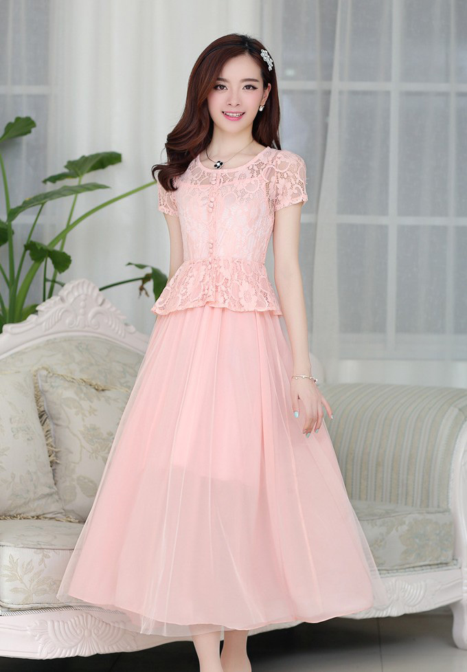 BELI LONG DRESS PESTA BROKAT CANTIK PINK