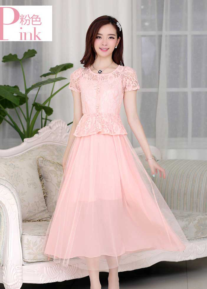 JUAL LONG DRESS PESTA BROKAT CANTIK PINK