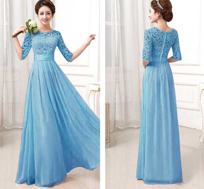 LONG DRESS GAUN IMPORT BIRU 2016 MODIS
