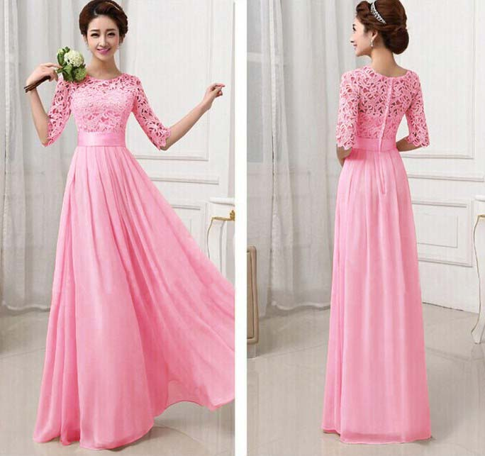 LONG DRESS MODEL GAUN PINK IMPORT 2016 KOREA