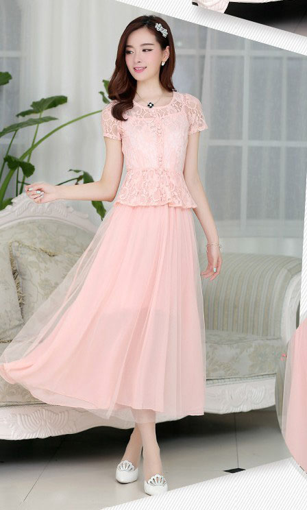 LONG DRESS PESTA BROKAT CANTIK PINK 2015