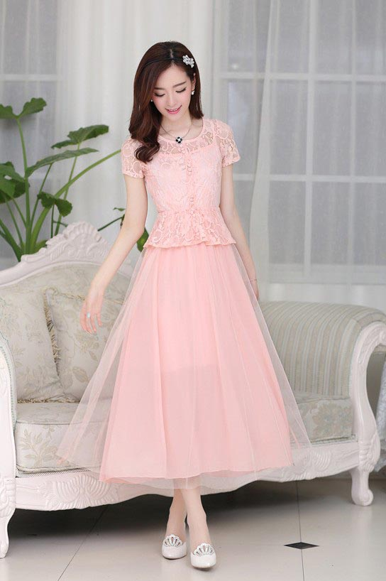 LONG DRESS PESTA BROKAT CANTIK PINK IMPORT