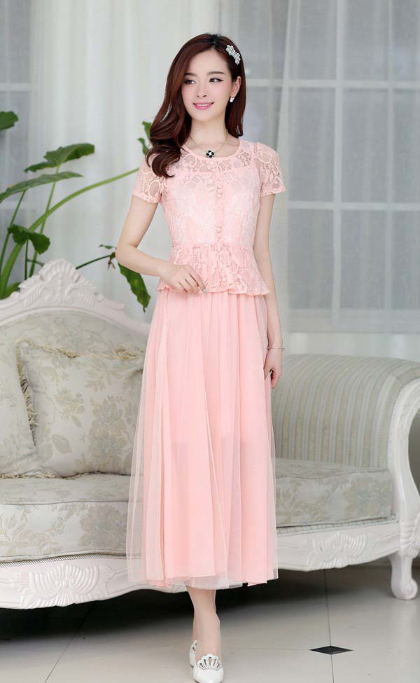 LONG DRESS PESTA BROKAT CANTIK PINK TERBARU