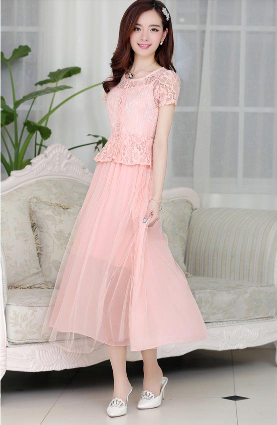 TOKO LONG DRESS PESTA BROKAT CANTIK PINK