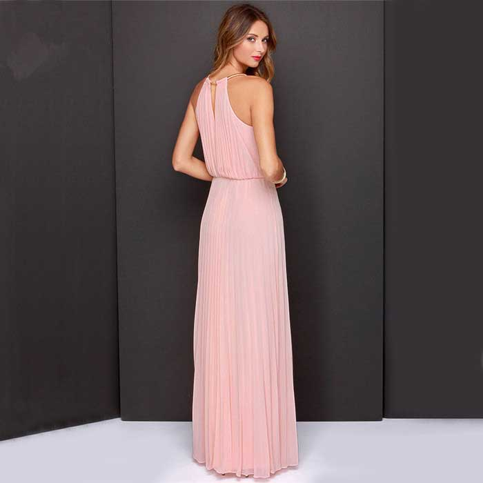 JUAL LONG DRESS PINK CANTIK IMPORT 2016