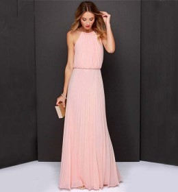 LONG DRESS PINK CANTIK IMPORT 2016
