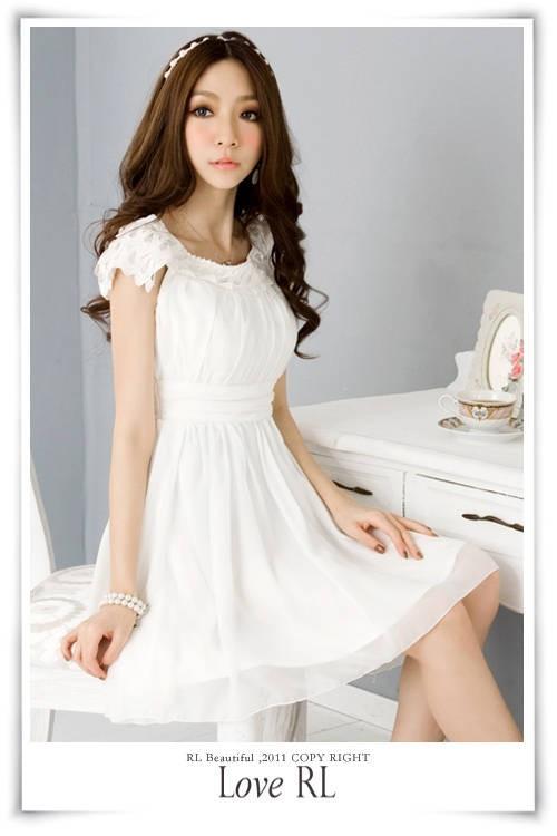 Dress Import Putih Lengan Pendek Model Terbaru Jual Murah