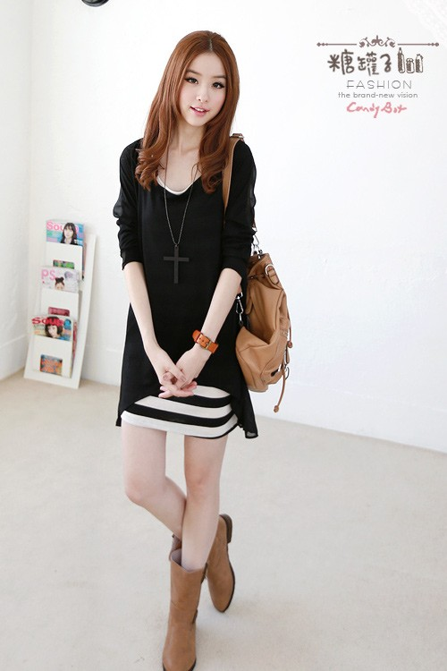 DRESS IMPORT SIFON 2PCS, DRESS IMPORT SIFON HITAM, DRESS IMPORT HITAM PUTIH, DRESS IMPORT SIFON LENGAN PANJANG, DRESS IMPORT SIFON MURAH, DRESS SIFON IMPORT, MINI DRESS IMPORT SIFON