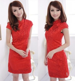 DRESS CHEONGSAM MERAH IMLEK