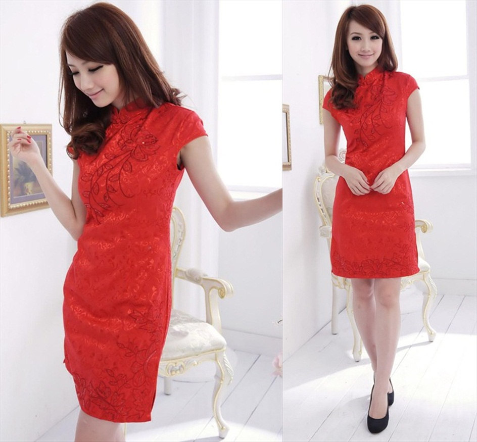 DRESS CHEONGSAM MERAH IMPORT
