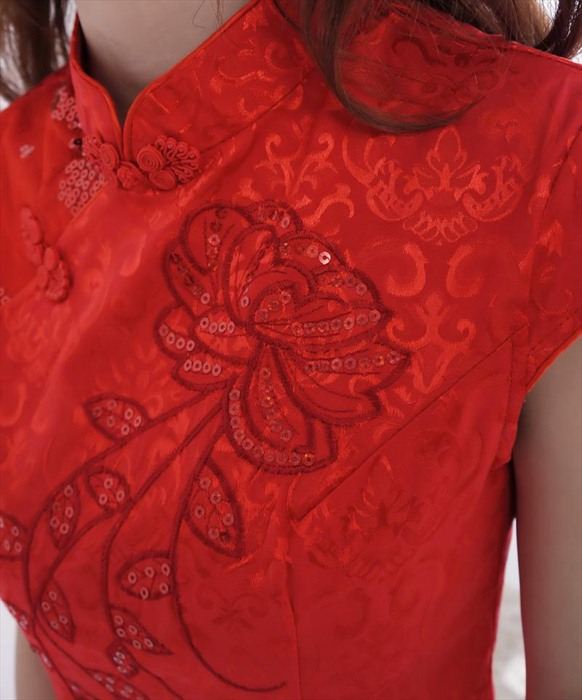 DRESS CHEONGSAM MERAH LENGAN PENDEK