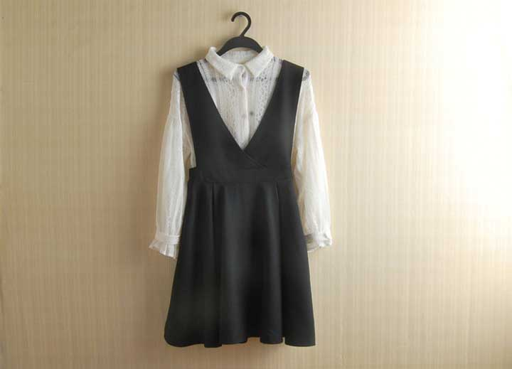 DRESS LENGAN PANJANG PUTIH HITAM IMPORT 2016
