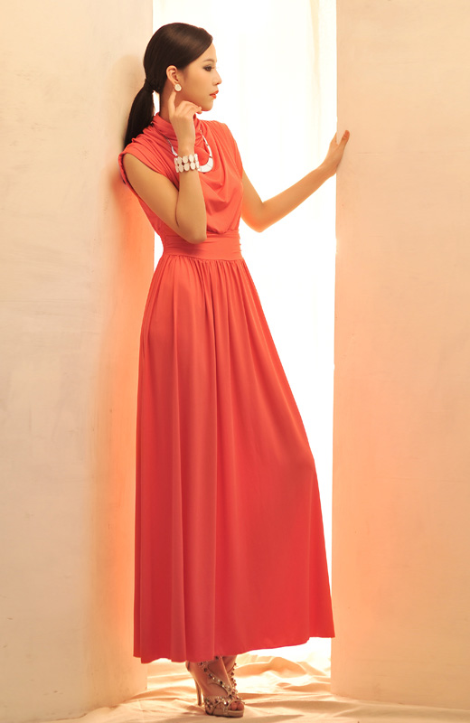 LONG DRESS KOREA PESTA LENGAN BUNTUNG TERBARU MERAH
