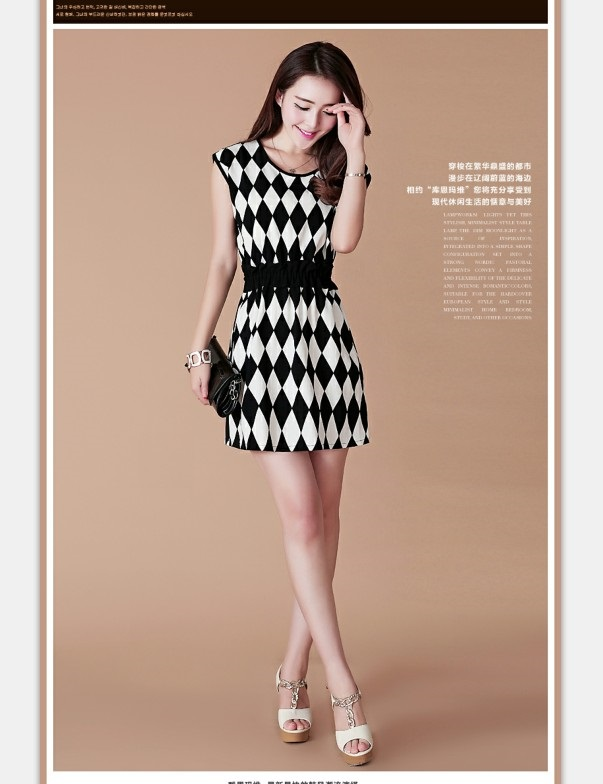 MINI DRESS KOREA MOTIF DIAMOND CANTIK MODIS
