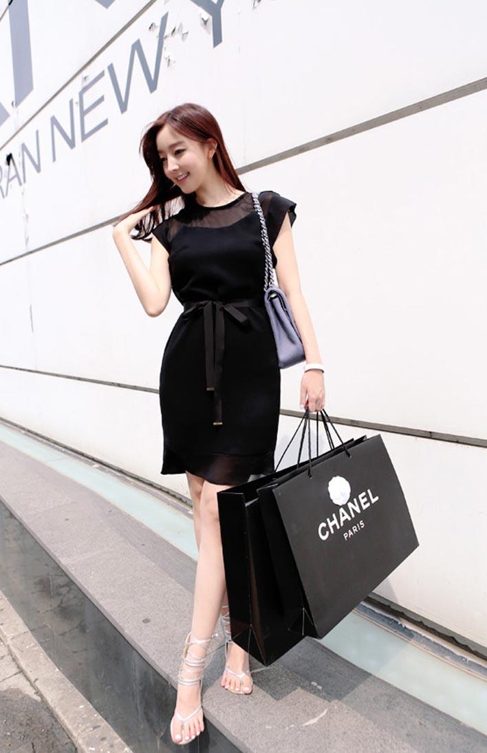 DRESS KOREA HITAM CANTIK TERBARU