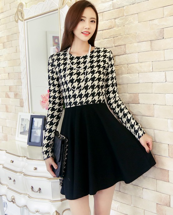 DRESS KOREA MOTIF HOUNDSTOOTH IMPORT