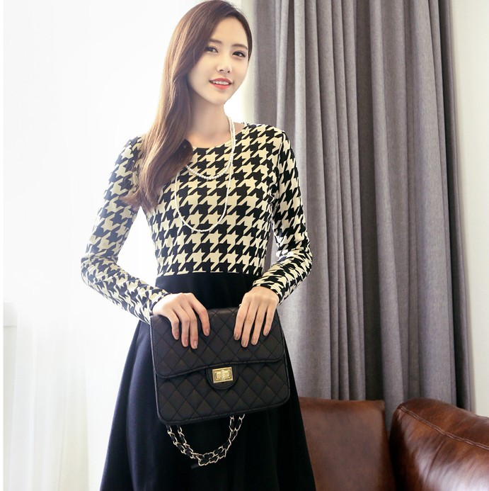 JUAL DRESS KOREA MOTIF HOUNDSTOOTH IMPORT