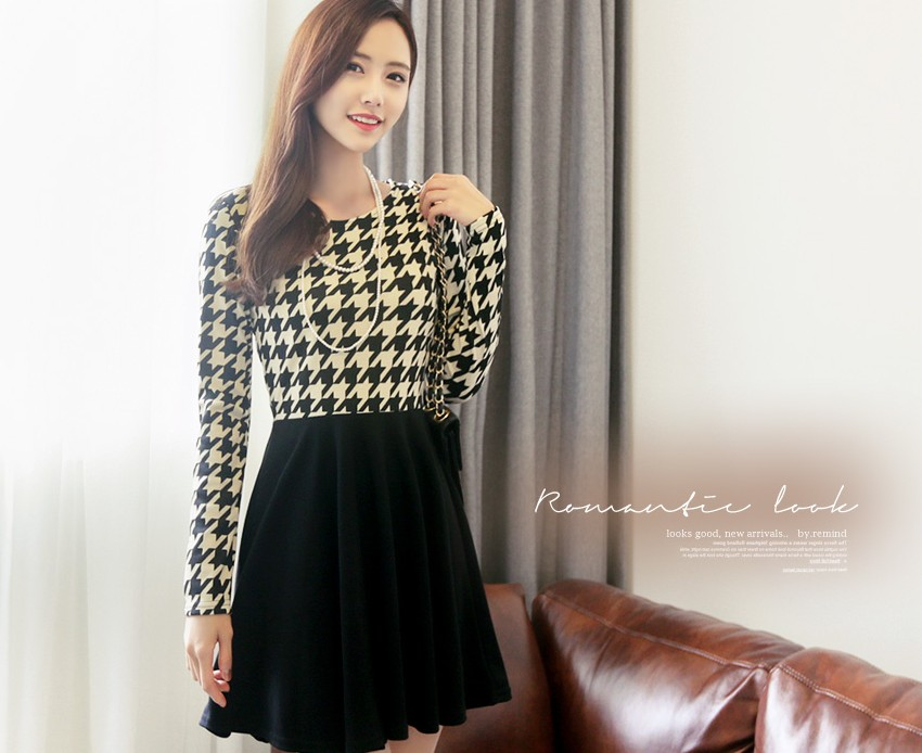 TOKO DRESS KOREA MOTIF HOUNDSTOOTH IMPORT