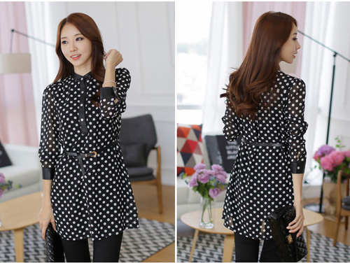 DRESS KOREA HITAM POLKADOT TERBARU IMPORT