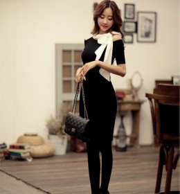 DRESS KOREA PITA PANJANG BAHU BOLONG
