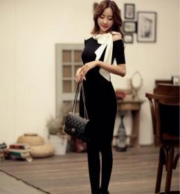 DRESS KOREA PITA PANJANG BAHU BOLONG