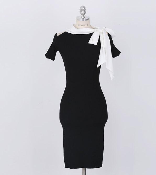 DRESS KOREA PITA PANJANG BAHU BOLONG CANTIK