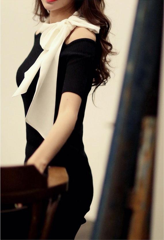 DRESS KOREA PITA PANJANG BAHU BOLONG MURAH