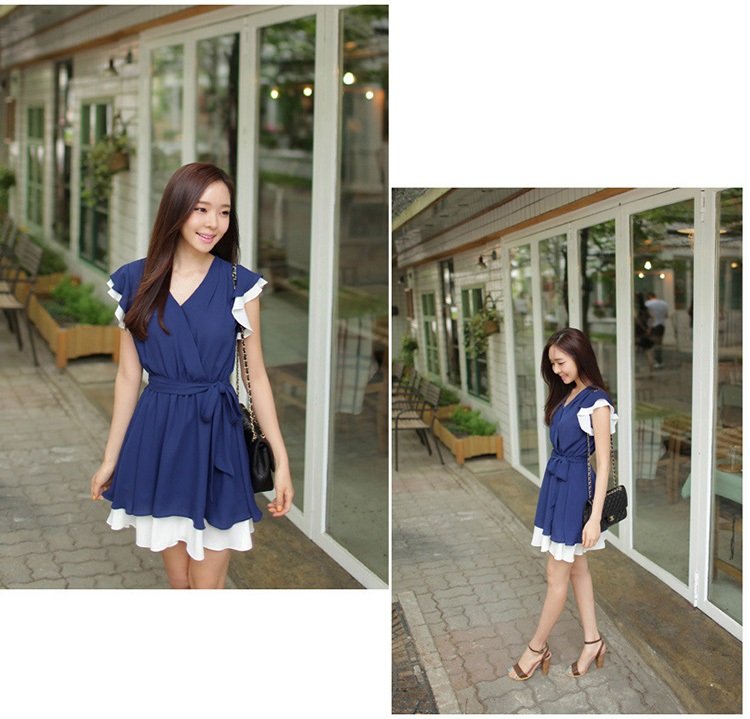 JUAL MINI DRESS IMPORT KOREA KERAH V