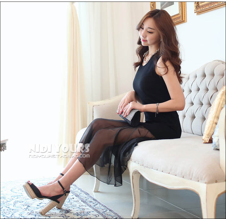 LONG DRESS KOREA HITAM CANTIK PANJANG