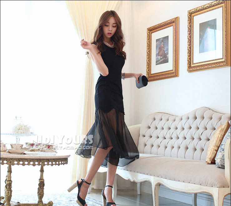 LONG DRESS KOREA HITAM CANTIK TERBARU