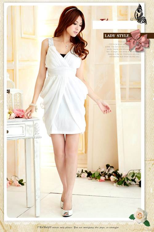 MINI DRESS PESTA WANITA PUTIH CANTIK