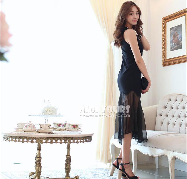TOKO LONG DRESS KOREA HITAM CANTIK