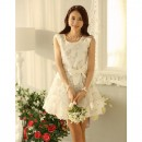 DRESS KOREA MOTIF BUNGA TERBARU