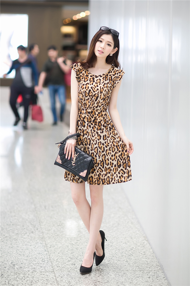 DRESS MOTIF LEOPARD CANTIK KOREA