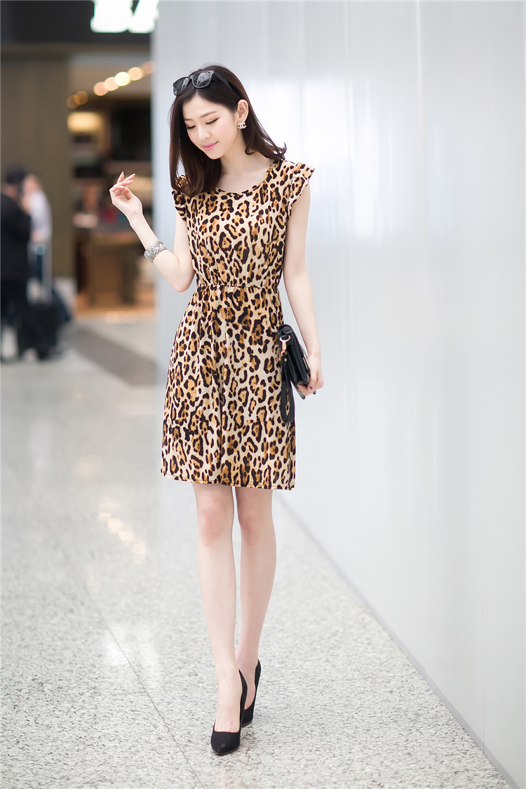DRESS MOTIF LEOPARD CANTIK MURAH
