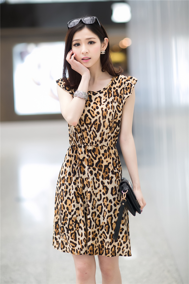 DRESS MOTIF LEOPARD CANTIK