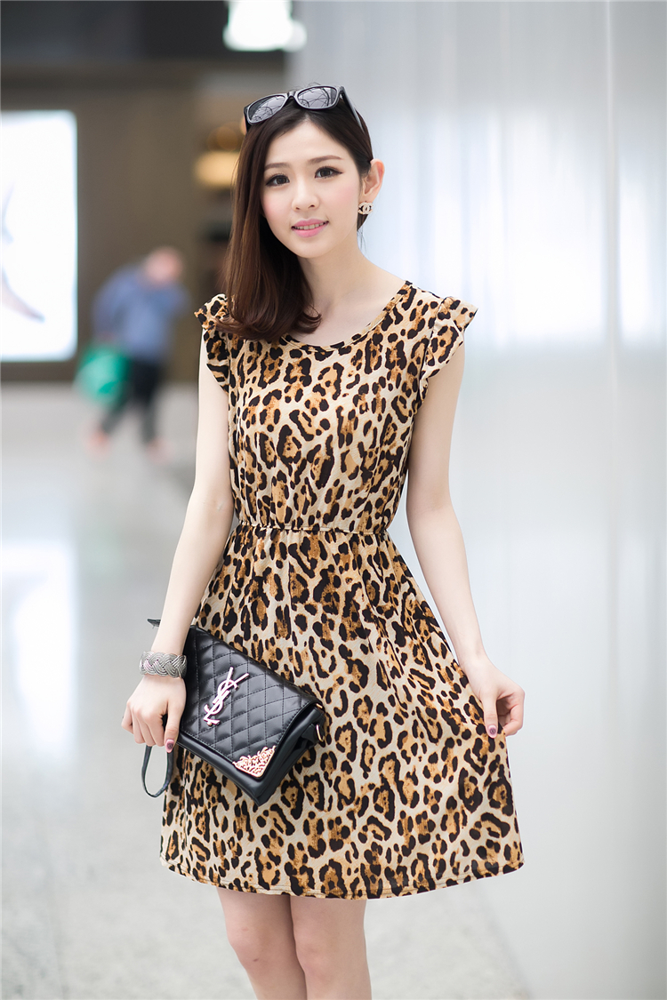 JUAL DRESS MOTIF LEOPARD CANTIK