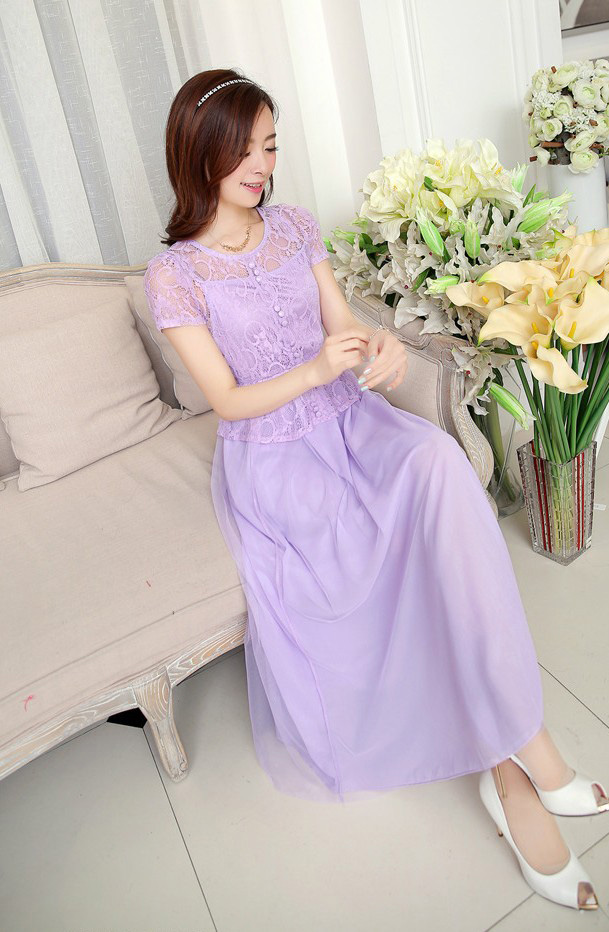 LONG DRESS PESTA BROKAT CANTIK LENGAN PENDEK