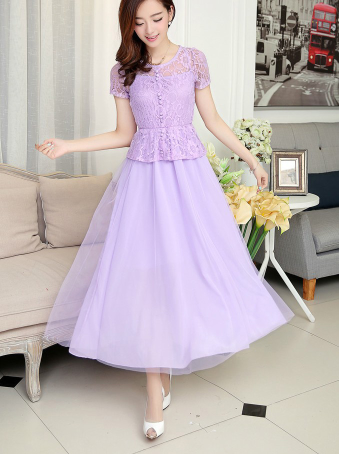 LONG DRESS PESTA BROKAT CANTIK UNGU